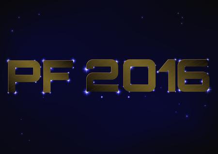 pf: Vector illustration of bronze metallic PF 2016 over blue night sky