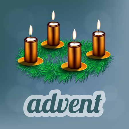 advent candles: illustration of advent wreath with realistic spruce and four bronze candles