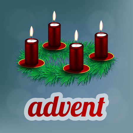 advent candles: illustration of advent wreath with realistic spruce and four red candles Illustration