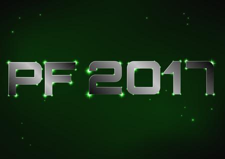pf: illustration of steel metallic PF 2017 over green night sky