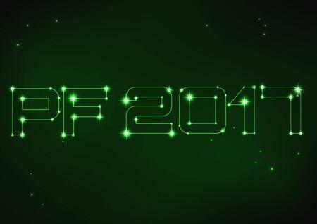 pf: illustration of green PF 2017 in style of constellation Illustration