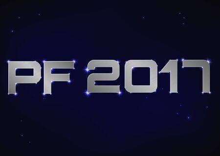 pf: illustration of silver metallic PF 2017 over blue night sky