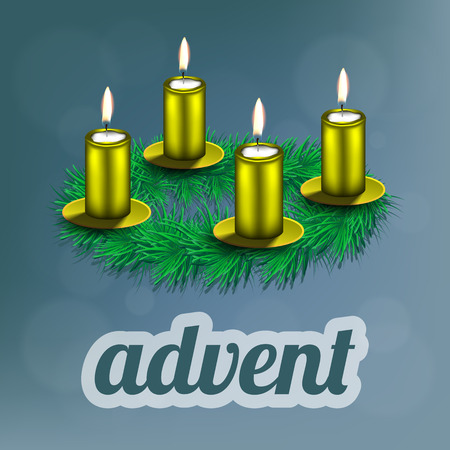 advent candles: illustration of advent wreath with realistic spruce, four golden candles and dishes Illustration