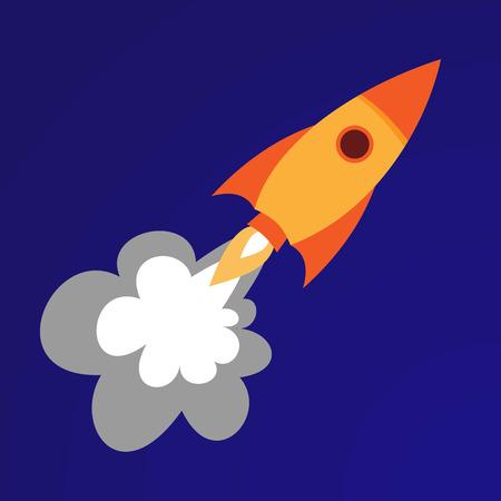 gravedad: ilustración de cohetes naranja. fondo azul Vectores