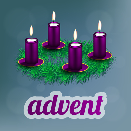 advent candles: illustration of advent wreath with realistic spruce, four purple candles and dishes