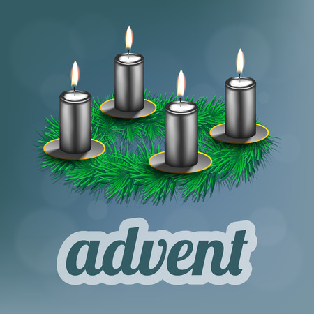advent candles: illustration of advent wreath with realistic spruce, four silver candles and dishes Illustration