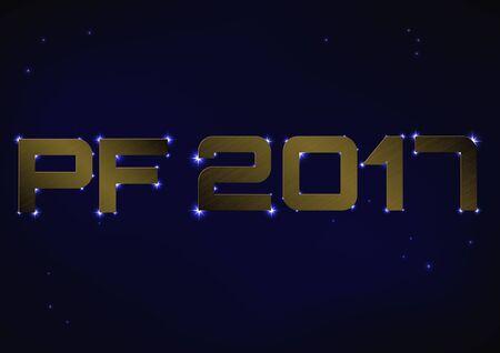 pf: illustration of bronze metallic PF 2017 over blue night sky