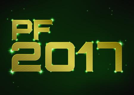 pf: illustration of golden metallic PF 2017 over green night sky