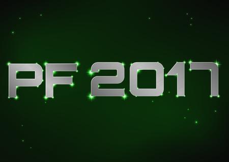 pf: illustration of silver metallic PF 2017 over green night sky Illustration