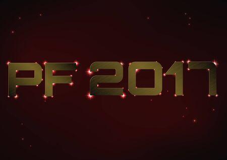 pf: illustration of bronze metallic PF 2017 over red night sky Illustration