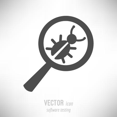 illustratie, vlakke icoon van het testen van software Stock Illustratie