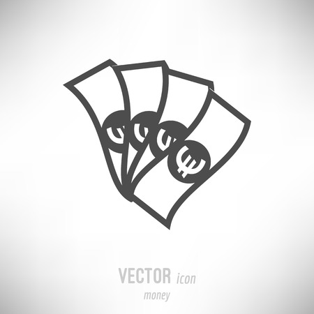 Vector illustration of flat design money icon. dark grey Иллюстрация