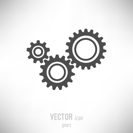Vector illustration of flat design gears icon. dark grey