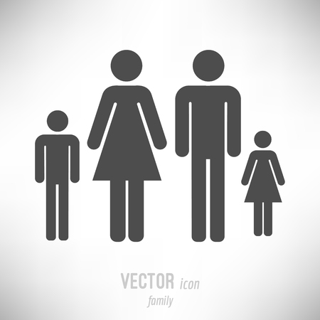 Vector illustration of flat design family icon. dark grey