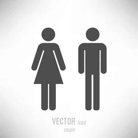 Vector illustration of flat design couple icon. dark grey
