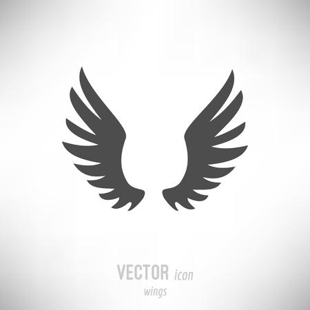 Vector illustration of flat design wings icon. dark grey