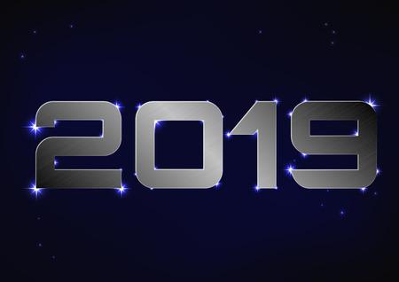 Vector illustration of steel metallic number 2019 over blue night sky