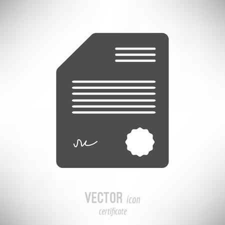 Vector illustration of flat design certificate icon. dark grey Иллюстрация