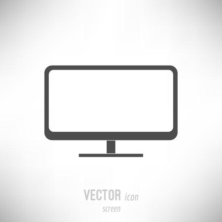 Vector illustration of flat design screen monitor icon. dark grey
