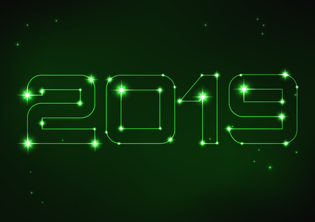 Vector illustration of green number 2019 in style of constellation Ilustracja