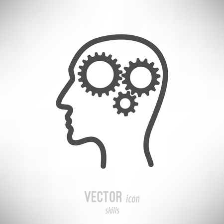 Vector illustration of flat design skills icon. dark grey