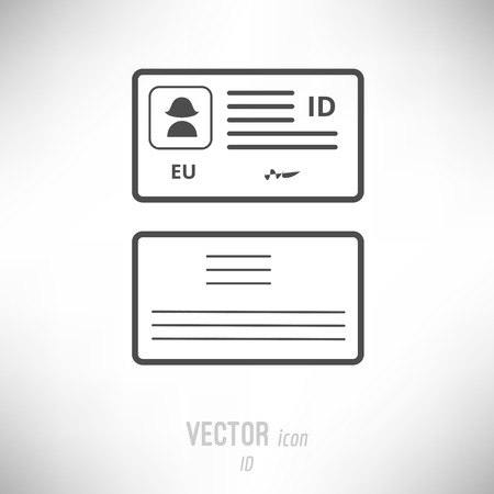 Vector illustration of flat design ID card icon. dark grey Иллюстрация