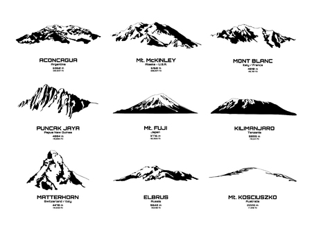 Outline vector illustration of highest mountains of each continents Stock Vector - 123441153