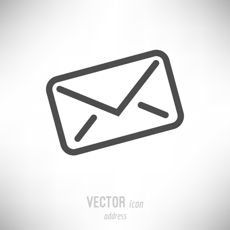 Vector illustration of flat design address envelope icon. dark grey