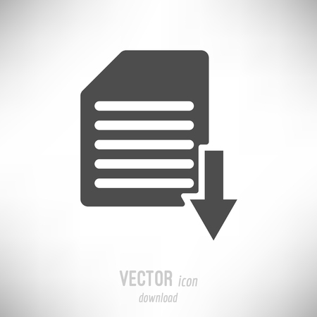 Vector illustration of flat design download icon. dark grey Иллюстрация