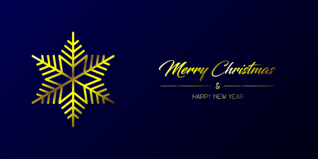 Vector illustration of wide greeting card with golden Merry Christmas and Happy New Year and flake on a dark blue background