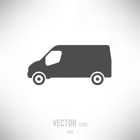 Vector illustration of flat design van icon. dark grey