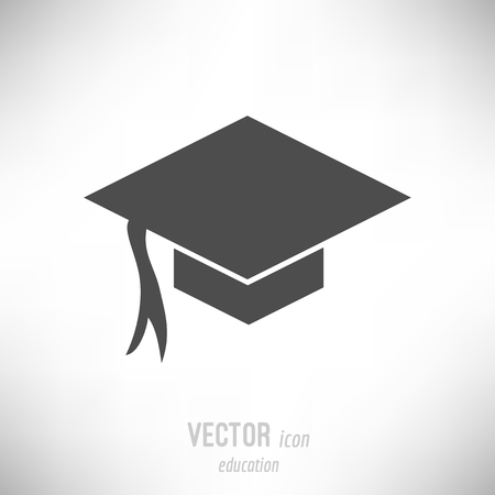Vector illustration of flat design education icon. dark grey Иллюстрация