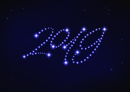 Vector illustration of blue number 2019 composed of stars Иллюстрация