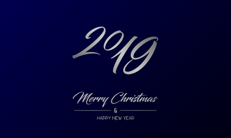 Vector illustration of centred greeting card with silver Merry Christmas and Happy New Year and number 2019 on a dark blue background