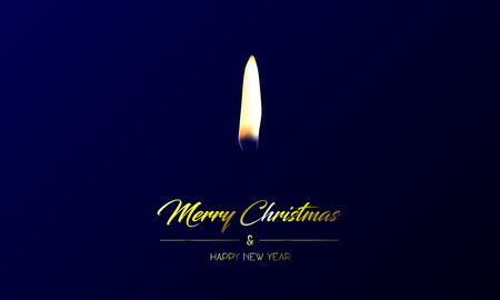 Vector illustration of centred greeting card with golden Merry Christmas and Happy New Year and realistic flame on a dark blue background