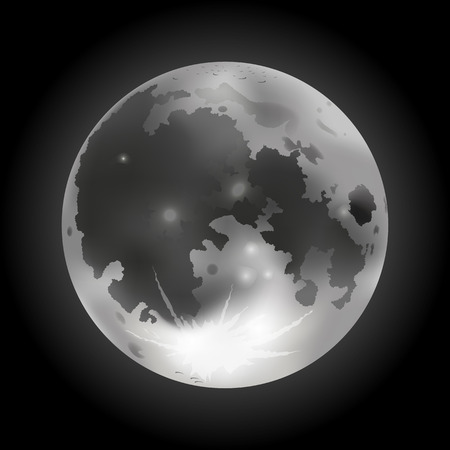 Vector illustration of gray full Moon on a dark background Иллюстрация