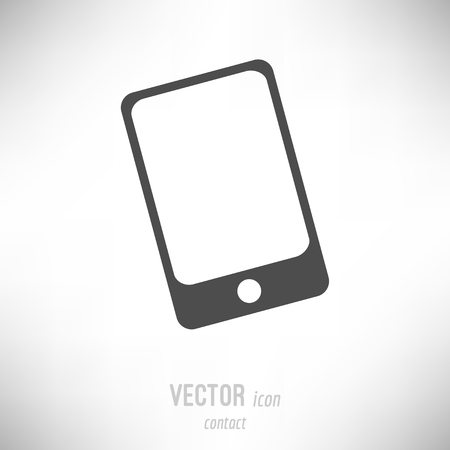 Vector illustration of flat design contact icon. dark grey