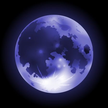 Vector illustration of blue full Moon on a dark background