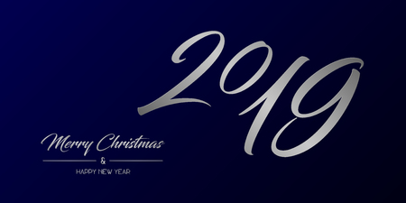 Vector illustration of wide greeting card with silver Merry Christmas and Happy New Year and number 2019 on a dark blue background
