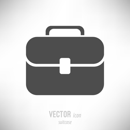 Vector illustration of flat design suitcase icon. dark grey