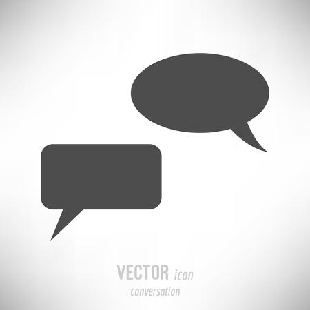 Vector illustration of flat design conversation icon. dark grey
