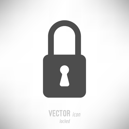 Vector illustration of flat design locked lock icon. dark grey Иллюстрация