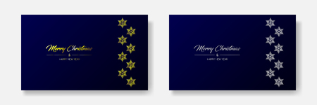 Vector illustration of two wide greeting cards with golden and silver  Merry Christmas and Happy New Year and flakes on the right. Dark blue background