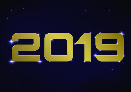 Vector illustration of golden metallic number 2019 over blue night sky
