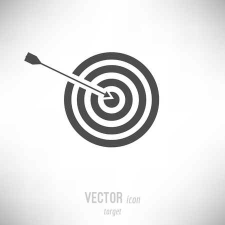 Vector illustration of flat design target icon. dark grey Иллюстрация