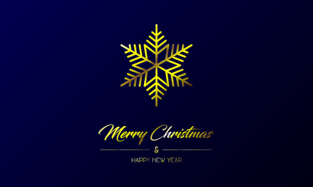 Vector illustration of centred greeting card with golden Merry Christmas and Happy New Year and flake on a dark blue background