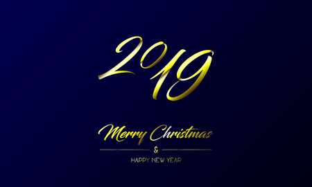 Vector illustration of centred greeting card with golden Merry Christmas and Happy New Year and number 2019 on a dark blue background