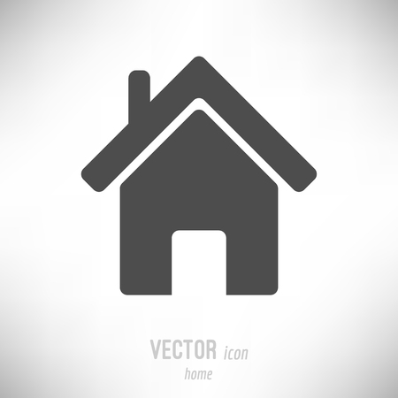Vector illustration of flat design home icon. dark grey
