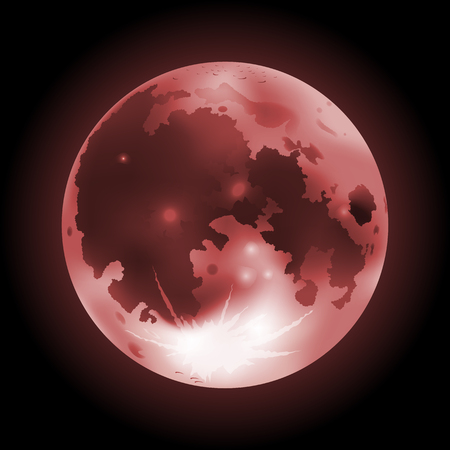 Vector illustration of red full Moon on a dark background