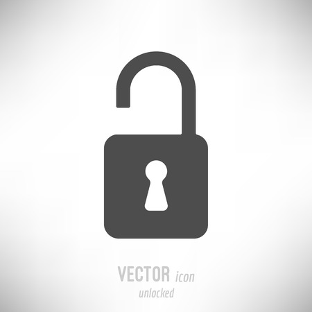 Vector illustration of flat design unlocked lock icon. dark grey